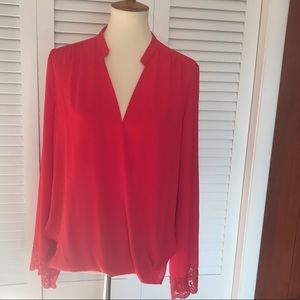 Jealous Tomato Vivid Red Crossover Blouse w/ Lace